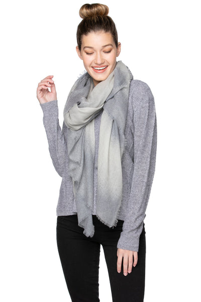 100% Cashmere Luxury Wrap Telluride Scarf in Lt. Grey/Flannel