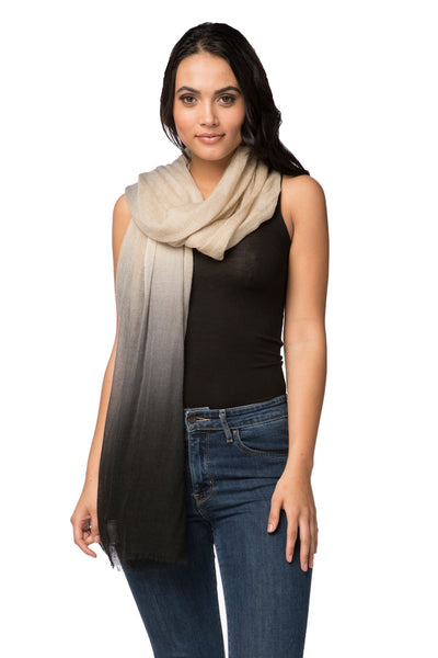 100% Cashmere Luxury Wrap Scarf in Ombre Cream/Black - Subtle Luxury