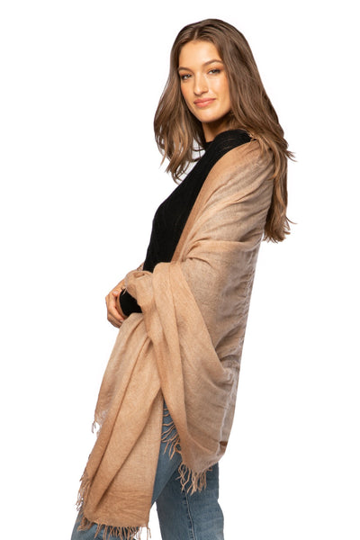 100% Tissue Cashmere Half Moon Scarf in Sand/Cream - Subtle Luxury