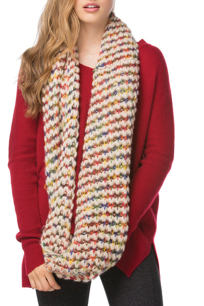 Rainbow Knit Infinity Scarf in Cream by Spun