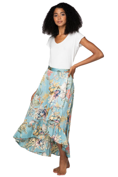 High Low Wrap Skirt in Tropical Escape