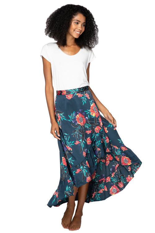 High Low Wrap Skirt in Summer Bloom