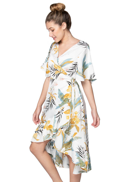 Tropical Garden High Low Wrap in White - Subtle Luxury