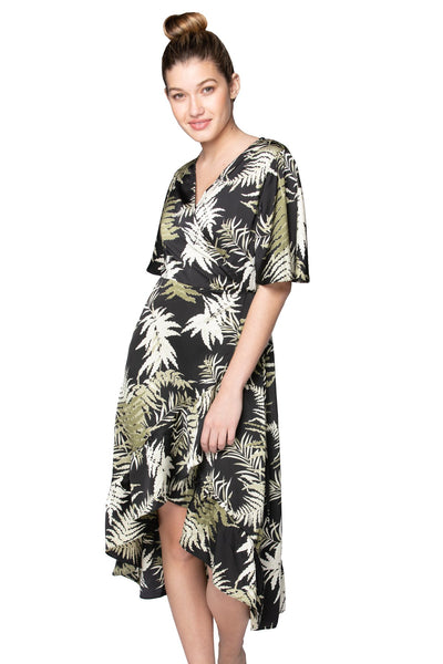 Bold Ferns High Low Wrap in Black - Subtle Luxury