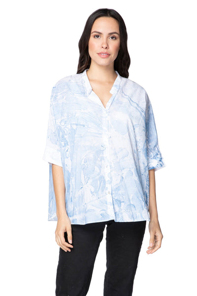 Kelly Easy T in Cotton Shirting - Marble Print - Subtle Luxury
