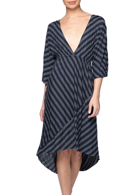 Tie Back Maxi Dress in Black/Grey