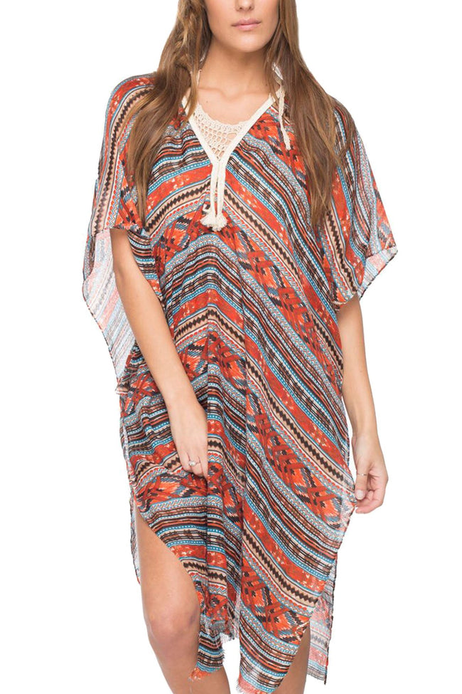 Nordic Maxi Kaftan Tassel Dress