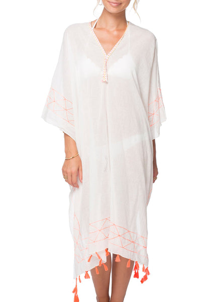 Geo Line Maxi Kaftan in Neon Orange