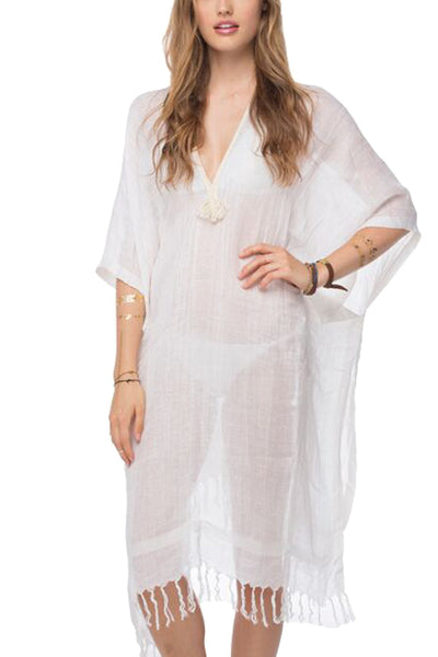 Kaftan Maxi Dress with Metallic Braid Trim - Subtle Luxury