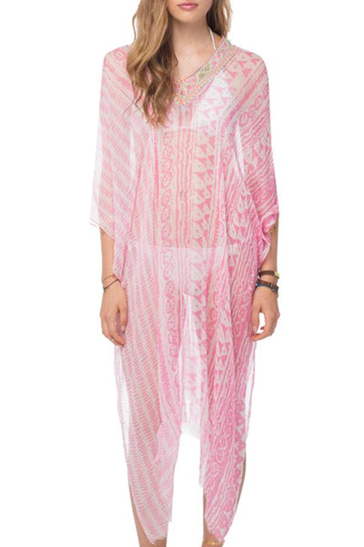 Tribal Princess Maxi Kaftan in Pink - Subtle Luxury