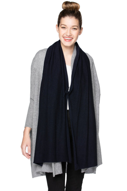 100% Cashmere Harlow Wrap in Black