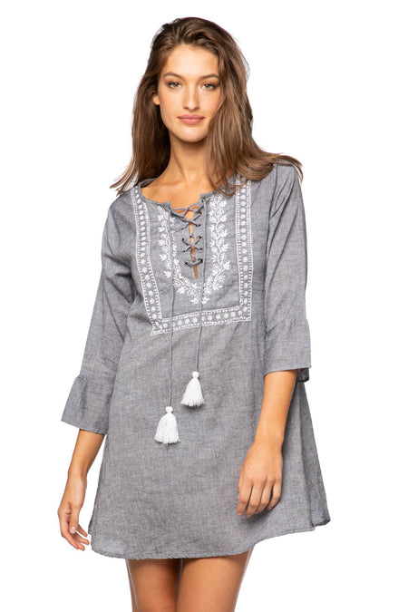 Fringe Tassel Dress in Solid Chambray - White