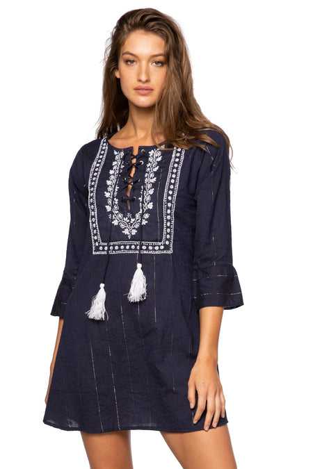 Fringe Tassel Dress in Ocean Ombre Combo