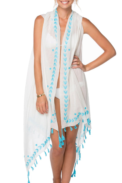 Long Draped Vest in Sky Blue Leaf Dot Embroidery