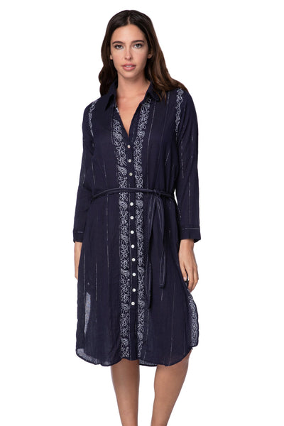Marley Tie Dress in Dark Denim w/Silver Lurex