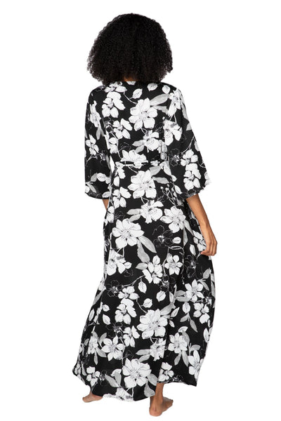 Shadowed Petals Maxi Kimono Dress