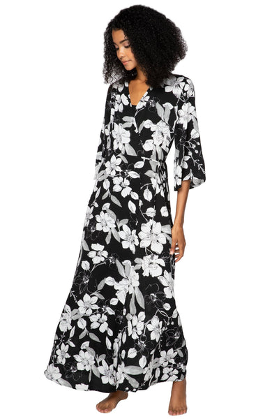 Shadowed Petals Maxi Kimono Dress - Subtle Luxury