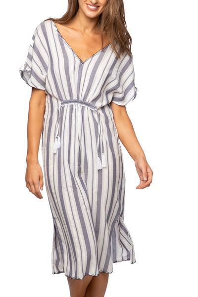 Madi Ruffle Dress in Denim Byron Bay Stripe - Subtle Luxury