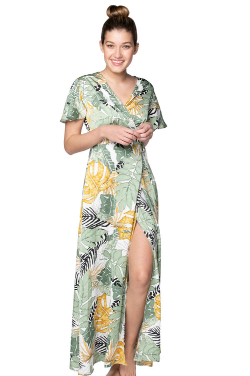 Leafy Palm Maxi Wrap Dress in White