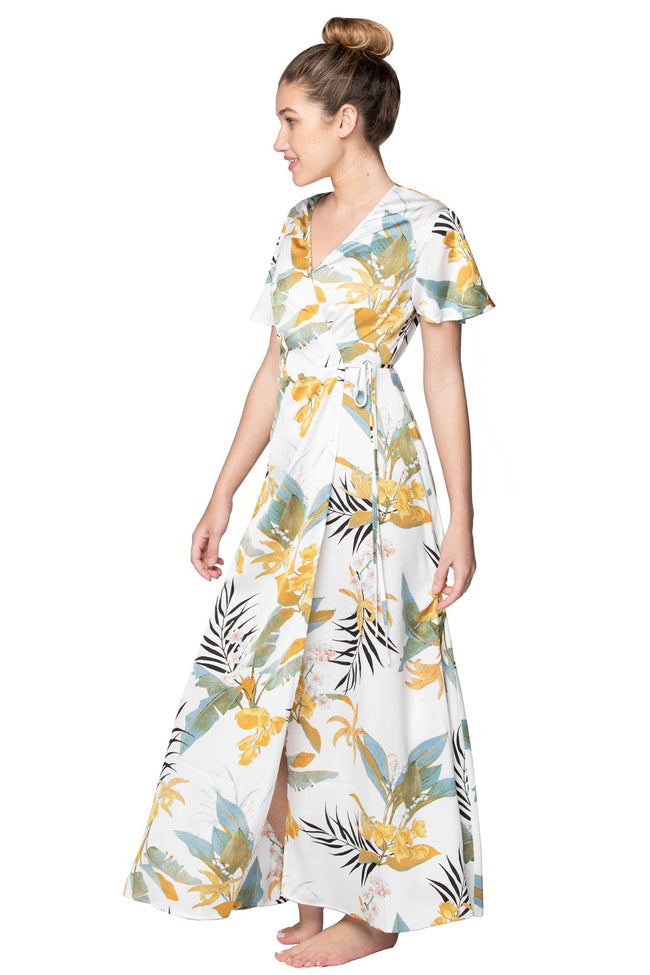 Tropical Garden Maxi Wrap Dress in White - Subtle Luxury