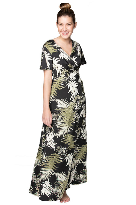Leafy Palm High Low Wrap in White