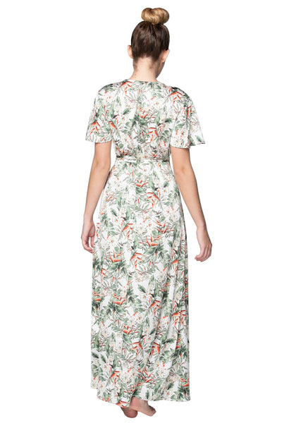 Blooming Paradise Maxi Wrap Dress in White - Subtle Luxury