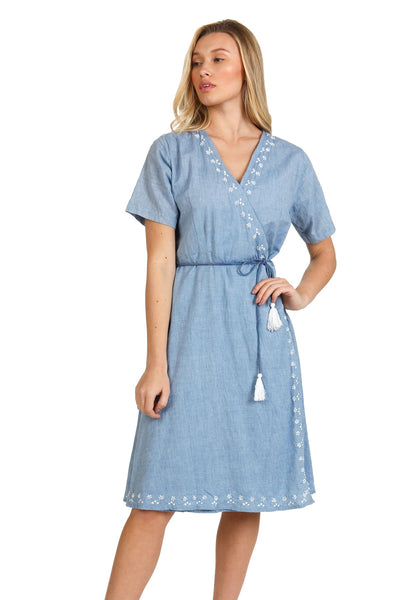 Cotton Chambray Nadia Midi Wrap Dress with hand embroidery | House Dress - Subtle Luxury
