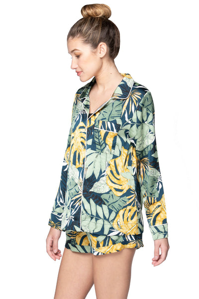 Bed to Brunch Piper Shirt in Leafy Palms - Subtle Luxury