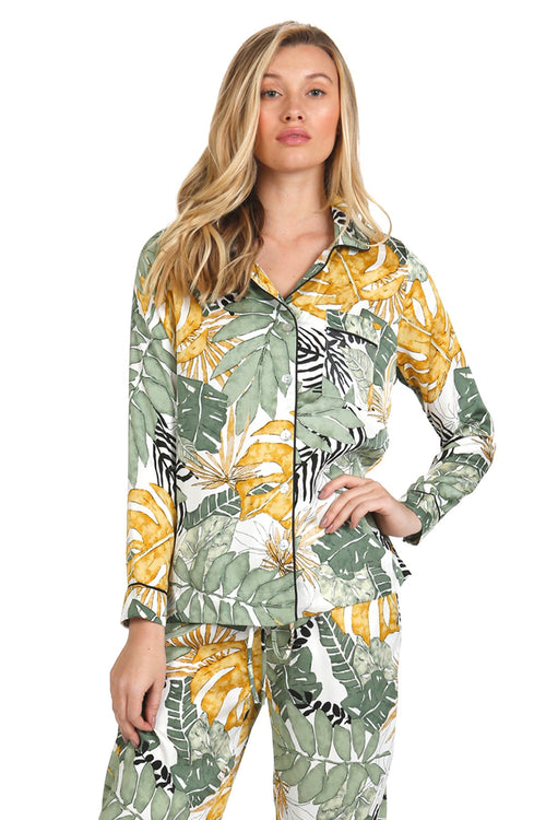 Bed to Brunch Piper Sleep Shirt | Daywear | Loungewear Button Up Shirt in Leafy Palms Print - Subtle Luxury