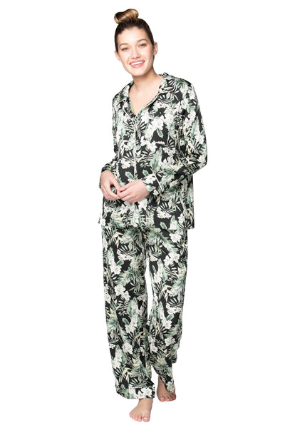 Bed to Brunch Piper Sleep Shirt | Daywear | Loungewear Button Up Shirt in Blooming Paradise Print - Subtle Luxury