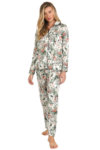 Bed to Brunch Piper Sleep Shirt | Daywear | Loungewear Button Up Shirt in Blooming Paradise Print Set - Subtle Luxury