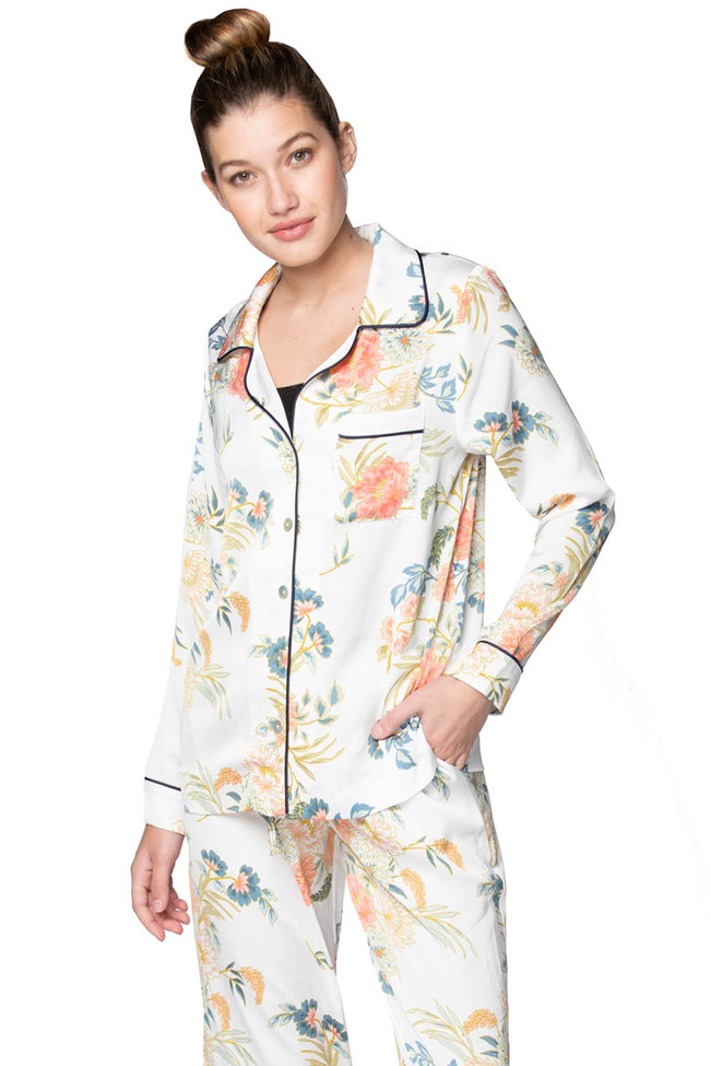 Bed to Brunch Piper Sleep Shirt | Daywear | Loungewear Button Up Shirt in Soft Bouquet Print - Subtle Luxury