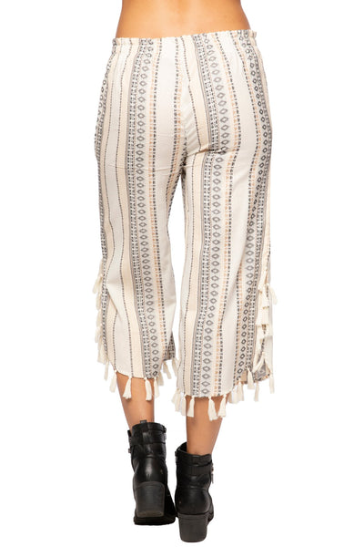 Adele Tasseled Pant in Ivory Outback Bliss - Subtle Luxury