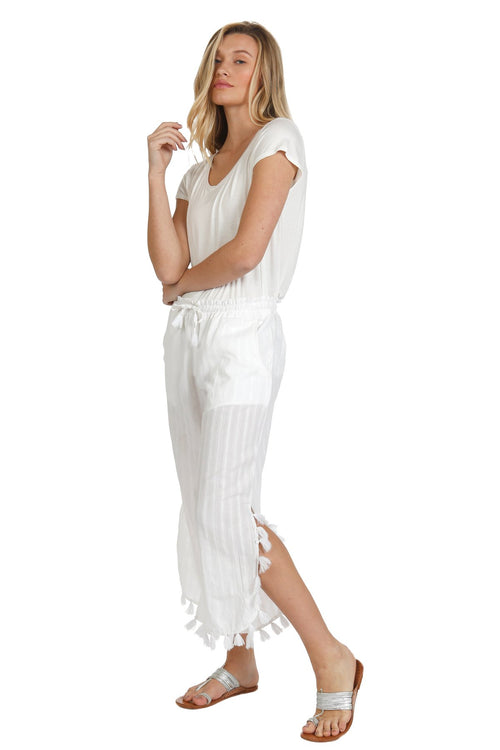 Adele Tasseled Pant in White Sands - Subtle Luxury