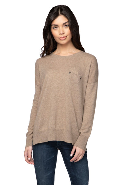 100% Cashmere Patricia Pocket Crew in Latte - Subtle Luxury