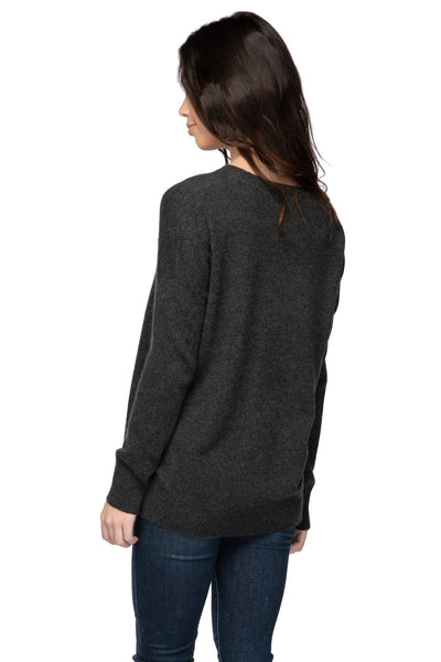 100% Cashmere Patricia Pocket Crew in Raven