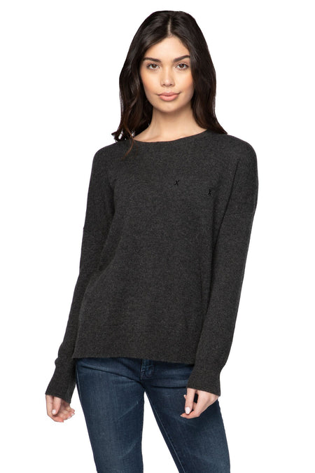 100% Cashmere Button Down V-Neck Pullover in Flannel