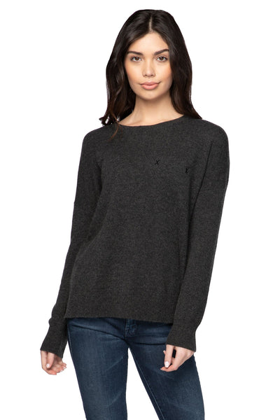 100% Cashmere Patricia Pocket Crew in Raven - Subtle Luxury