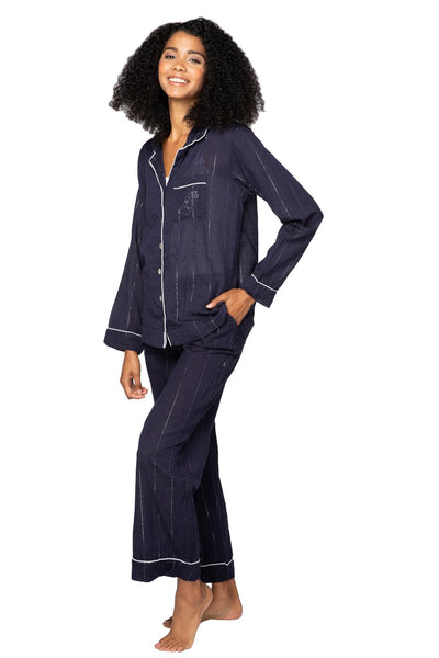 Sleeping In PJ Set in Chambray/Lurex - Subtle Luxury