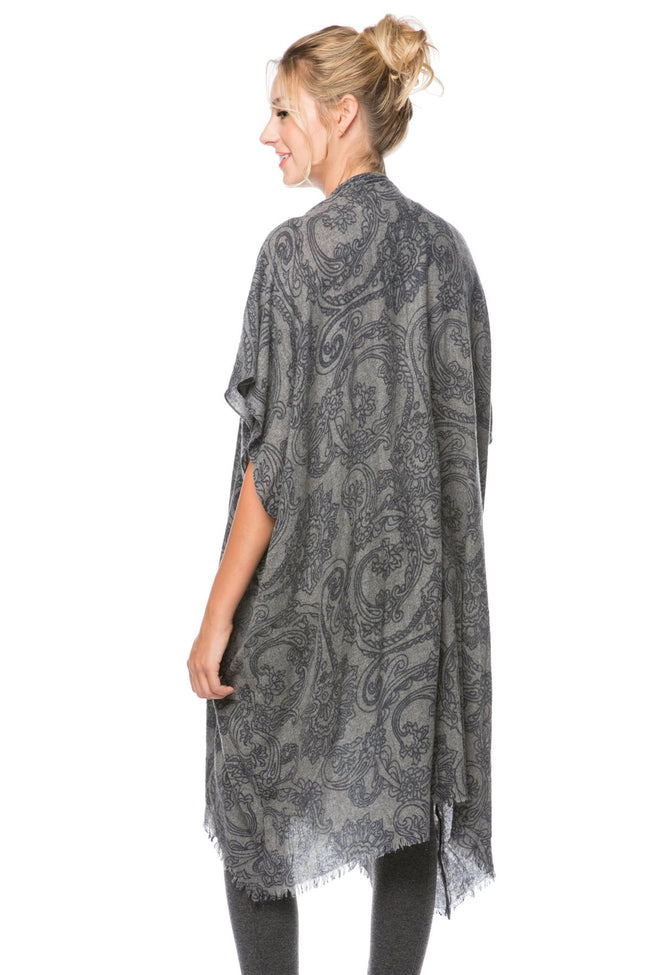 Orchid Scroll Kimono Wrap in Brown