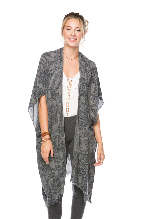 Orchid Scroll Kimono Wrap in Brown - Subtle Luxury