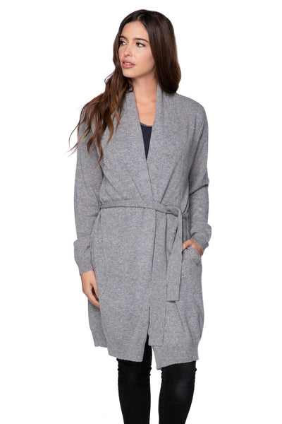 100% Cashmere Robyn Robe in Confetti Grey - Subtle Luxury