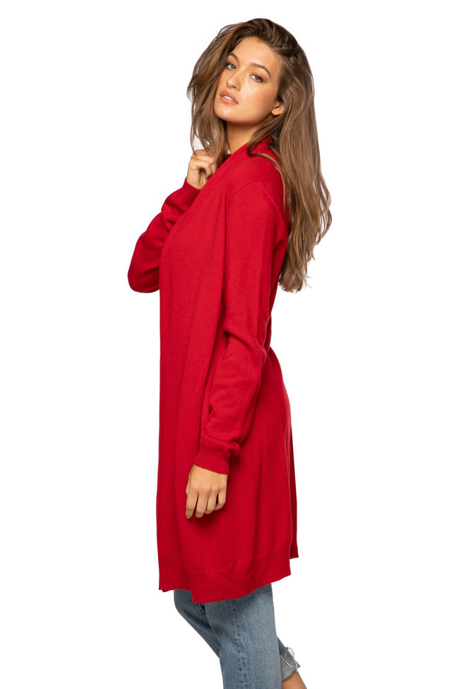 100% Cashmere Robyn Robe / Duster in Red - Subtle Luxury