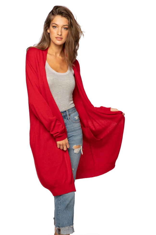 100% Cashmere Robyn Robe in Red - Subtle Luxury