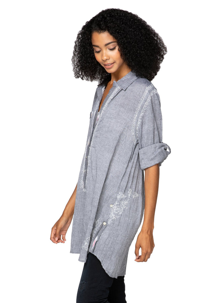 Boyfriend Shirt in Charcoal Chambray with Ikat Trim - Subtle Luxury