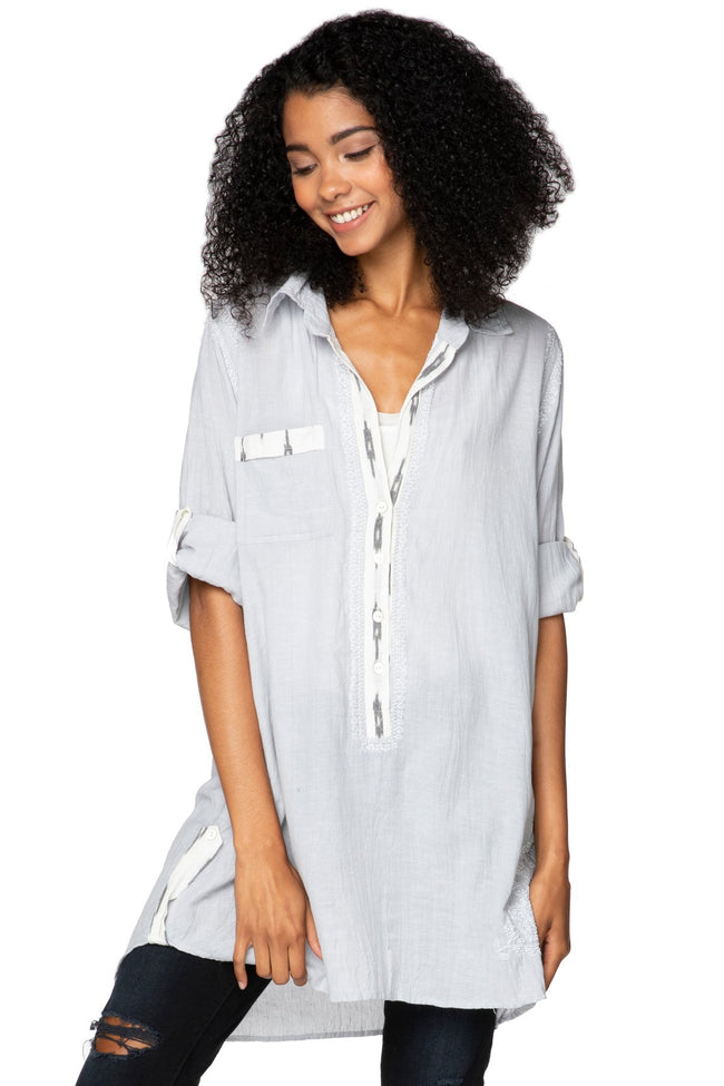 Boyfriend Shirt in Light Grey Chambray with Ikat Trim - Subtle Luxury