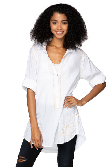 Boyfriend Shirt in White/Dune