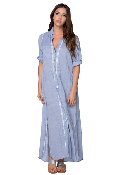 Maxi Boyfriend Dress in Chambray Denim - Subtle Luxury