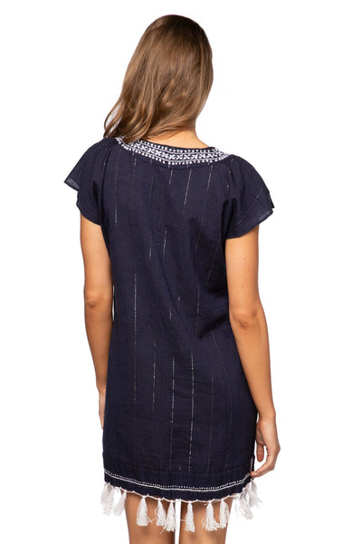 Fringe Tassel Dress in Dark Denim with Silver - Subtle Luxury
