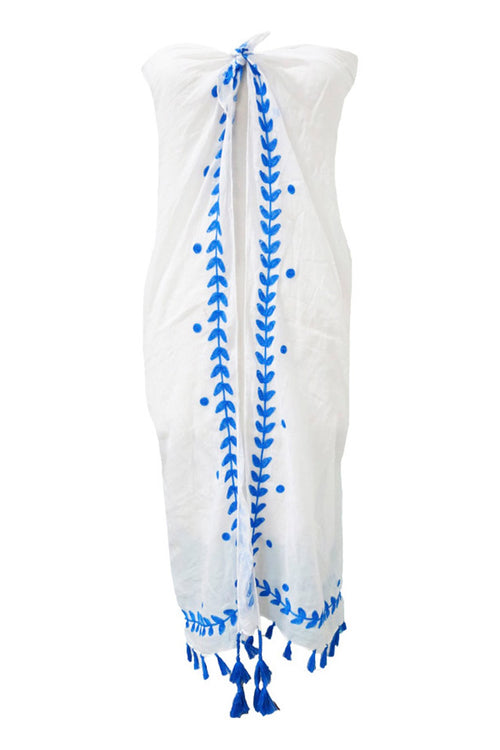 Leaf Dot Embroidery Sarong/Scarf Wrap